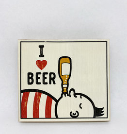 Dick Daniels I Love Beer Image Transfer on Wood Block