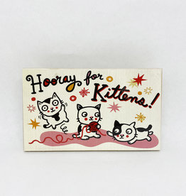 Dick Daniels Hooray For Kittens Image Transfer on Wood Block