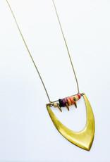 Tilly Doro Brass Chevron + Beads Necklace