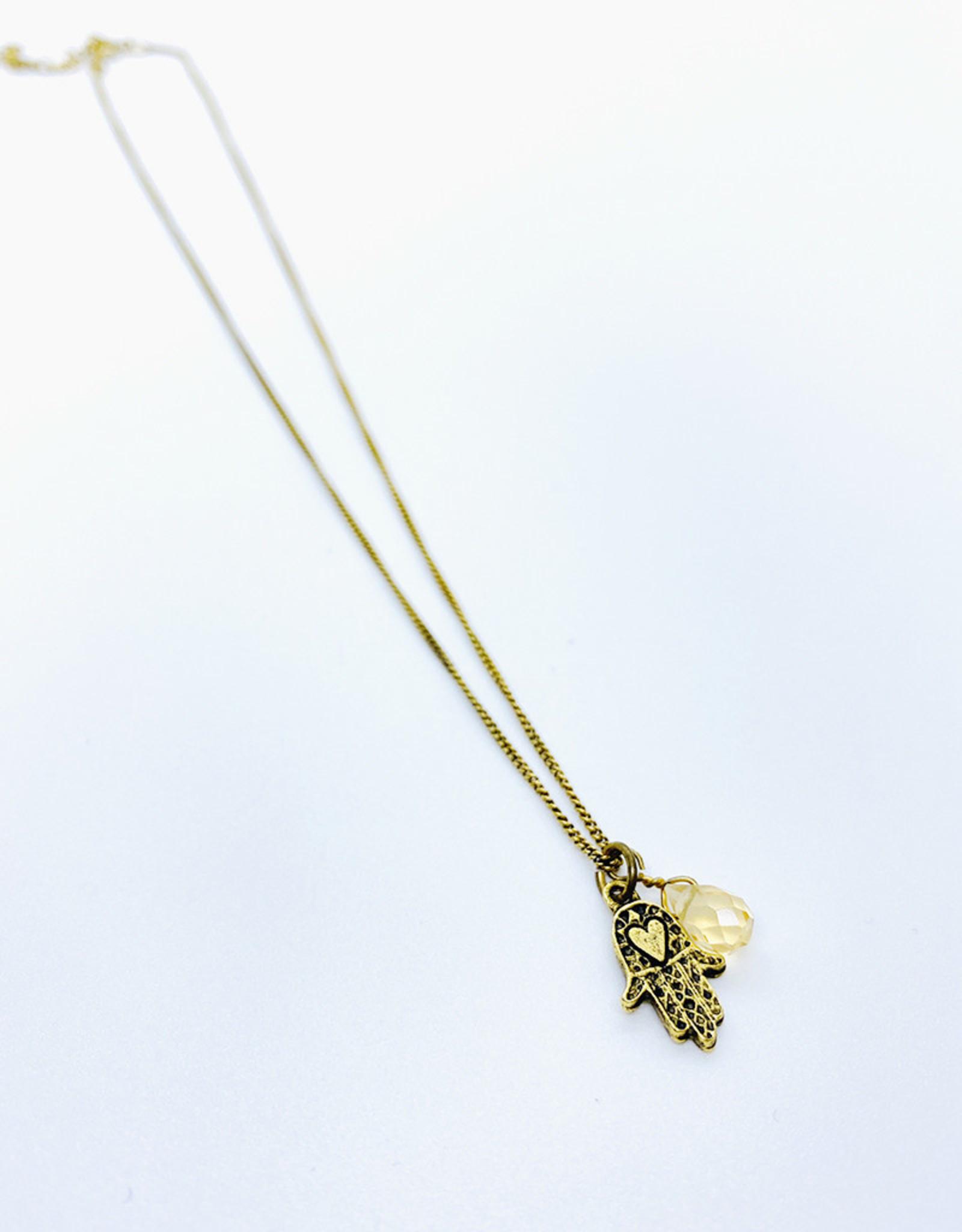 Tilly Doro Hamsa + Stone Necklace // Tillydoro