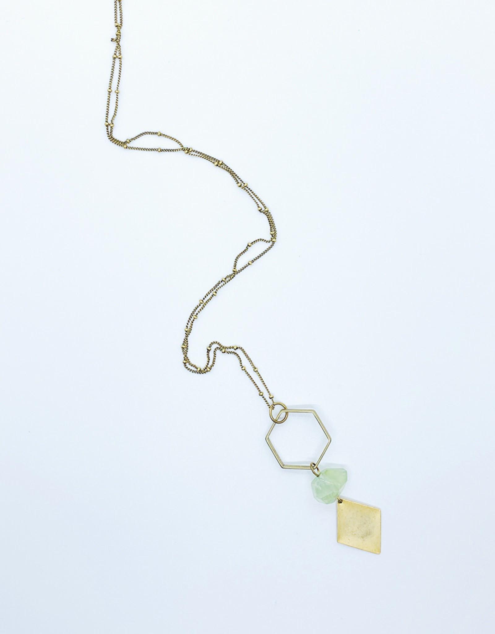 Tillydoro Hexagon + Green Amethyst Necklace // Tillydoro