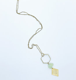 Tillydoro Hexagon + Green Amethyst Necklace // Tillydoro