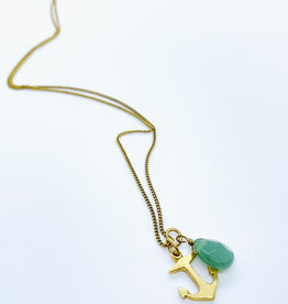 Tillydoro Anchor + Adventurine Necklace // Tillydoro