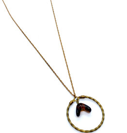 kizmet jewelry Tortoise Bead in Twisted Hoop Necklace by Kizmet Jewelry