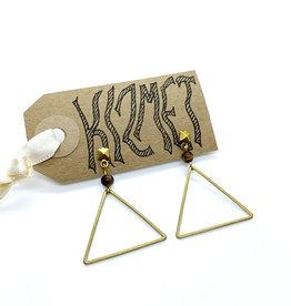 kizmet jewelry Brass Triangle w Tiger's Eye Earrings by Kizmet Jewelry