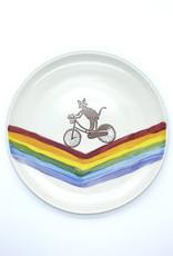 Melanie Harvey Pottery Cycling Kitty Plate by Melanie Harvey Pottery