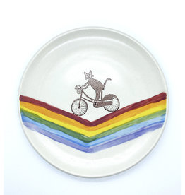 Melanie Harvey Pottery Cycling Kitty Plate by Melanie Harvey Pottery