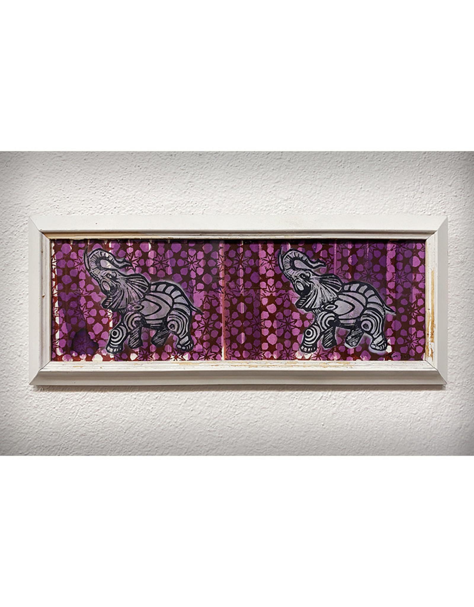 Paul Punzo Framed Two Elephants by Paul Punzo