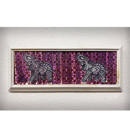 Paul Punzo Framed Two Elephants by Paul Punzo