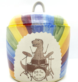 Melanie Harvey Pottery Dino Band Stoneware Canister by Melanie Harvey