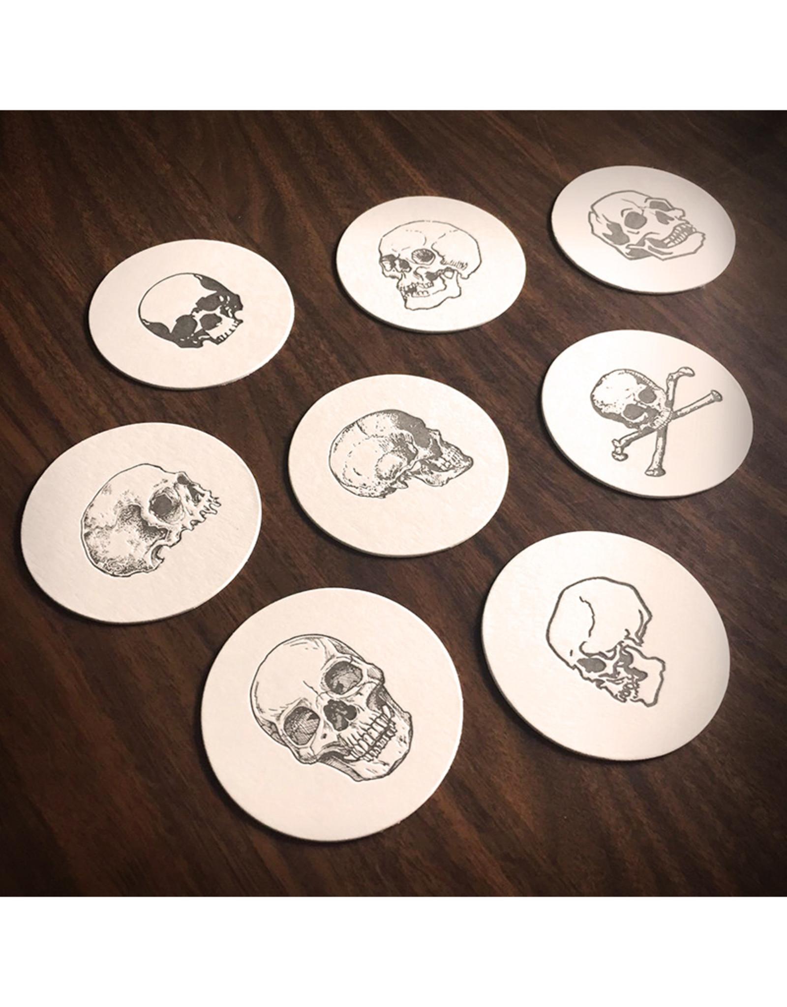 Skylab Letterpress Skull Letterpress Coasters // 8 Pack by Skylab Letterpress