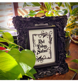Skylab Letterpress Not Today Satan // 5x7 //  Halloween Letterpress Print
