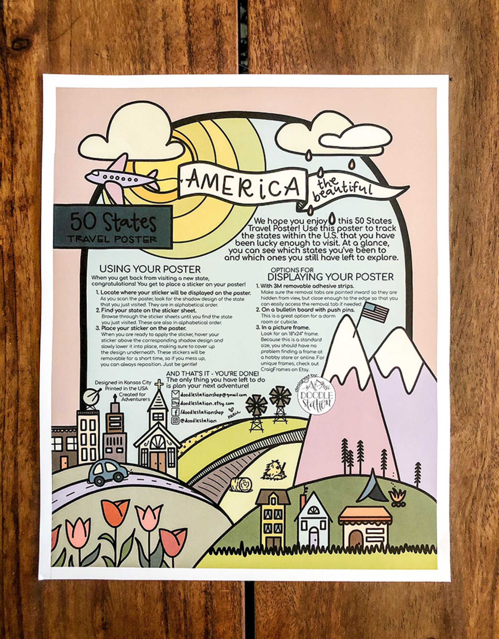 doodlestation 50 States Travel Poster by DoodleStation