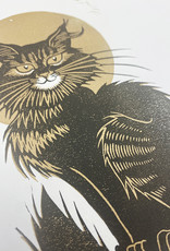 Janellabee Studio Black Cat + Moon Block Print by Janellabee Studio
