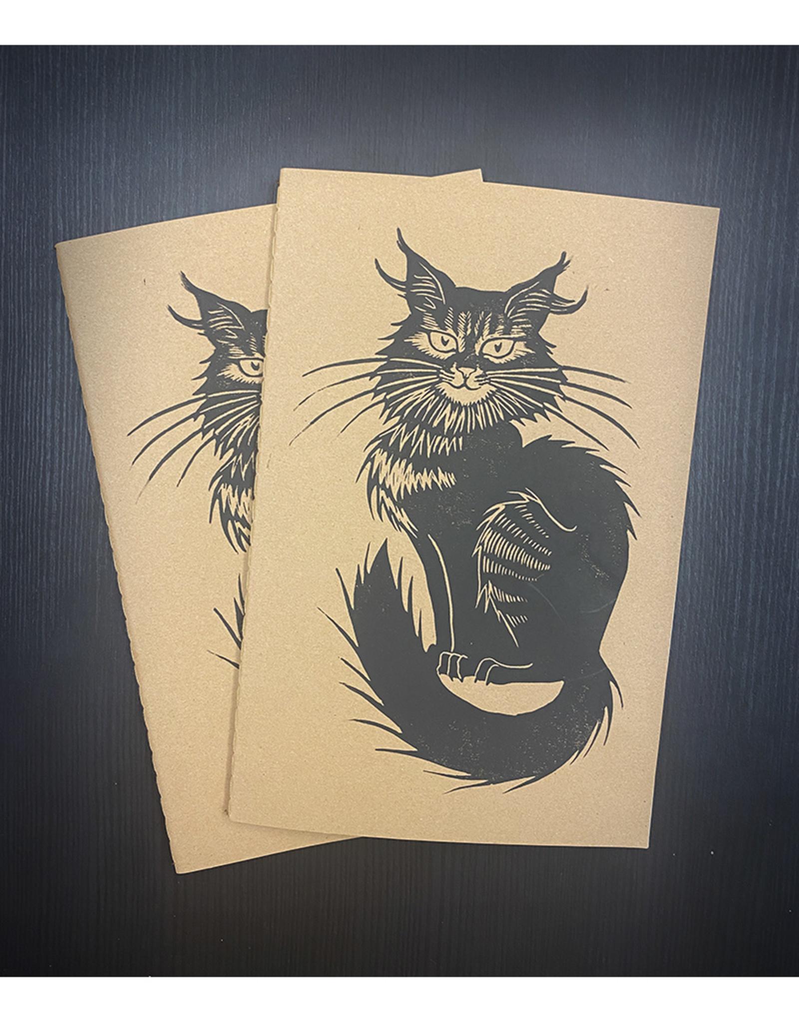 Janellabee Studio Black Cat Block Print Journals by Janellabee Studio