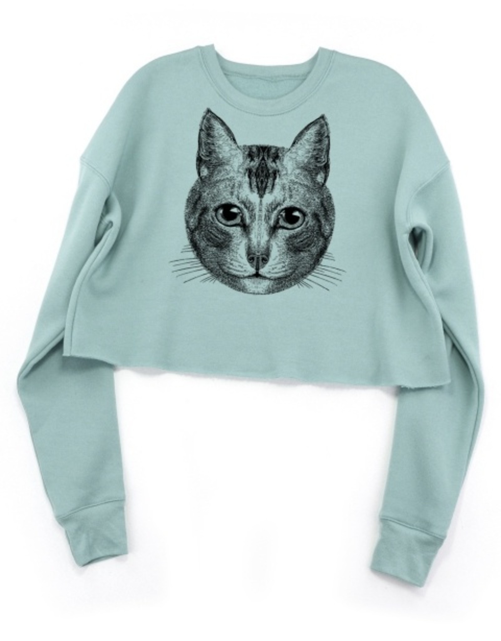 Supermaggie Chloe Crop Cat Face Fleece Sweatshirt by Supermaggie