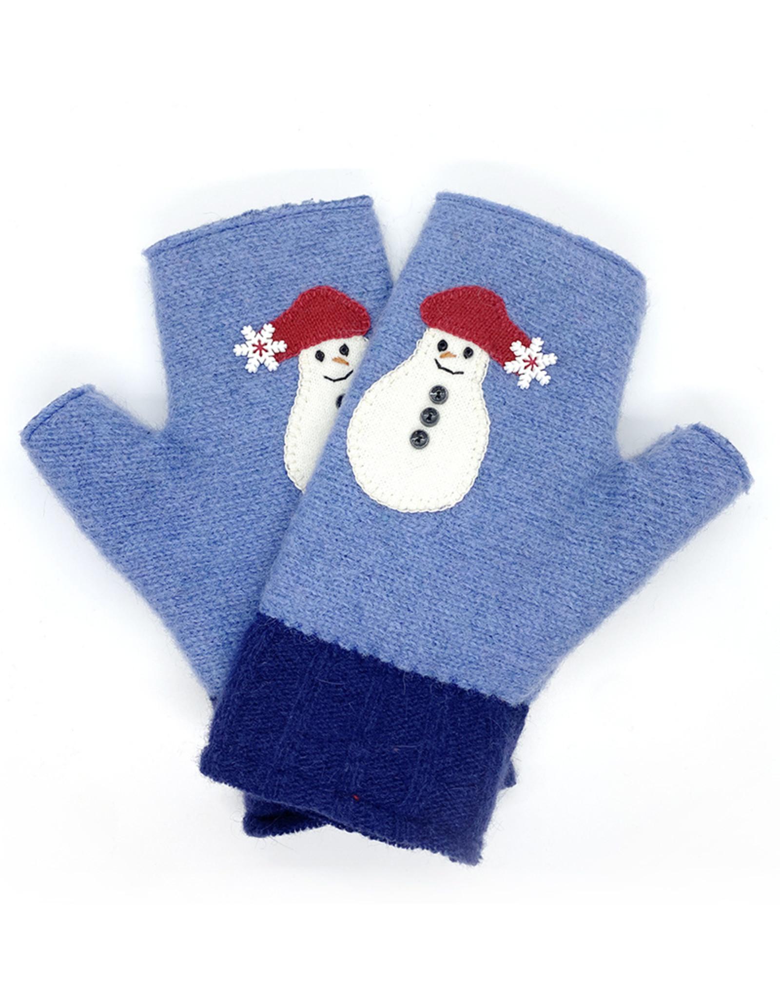 Linda Strick Snowman Fingerless Mittens by Linda Strick