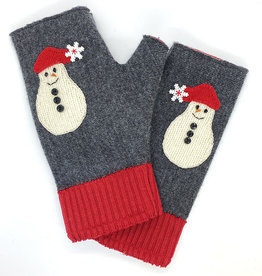 Linda Strick Snowman Fingerless Mittens by Linda Strick