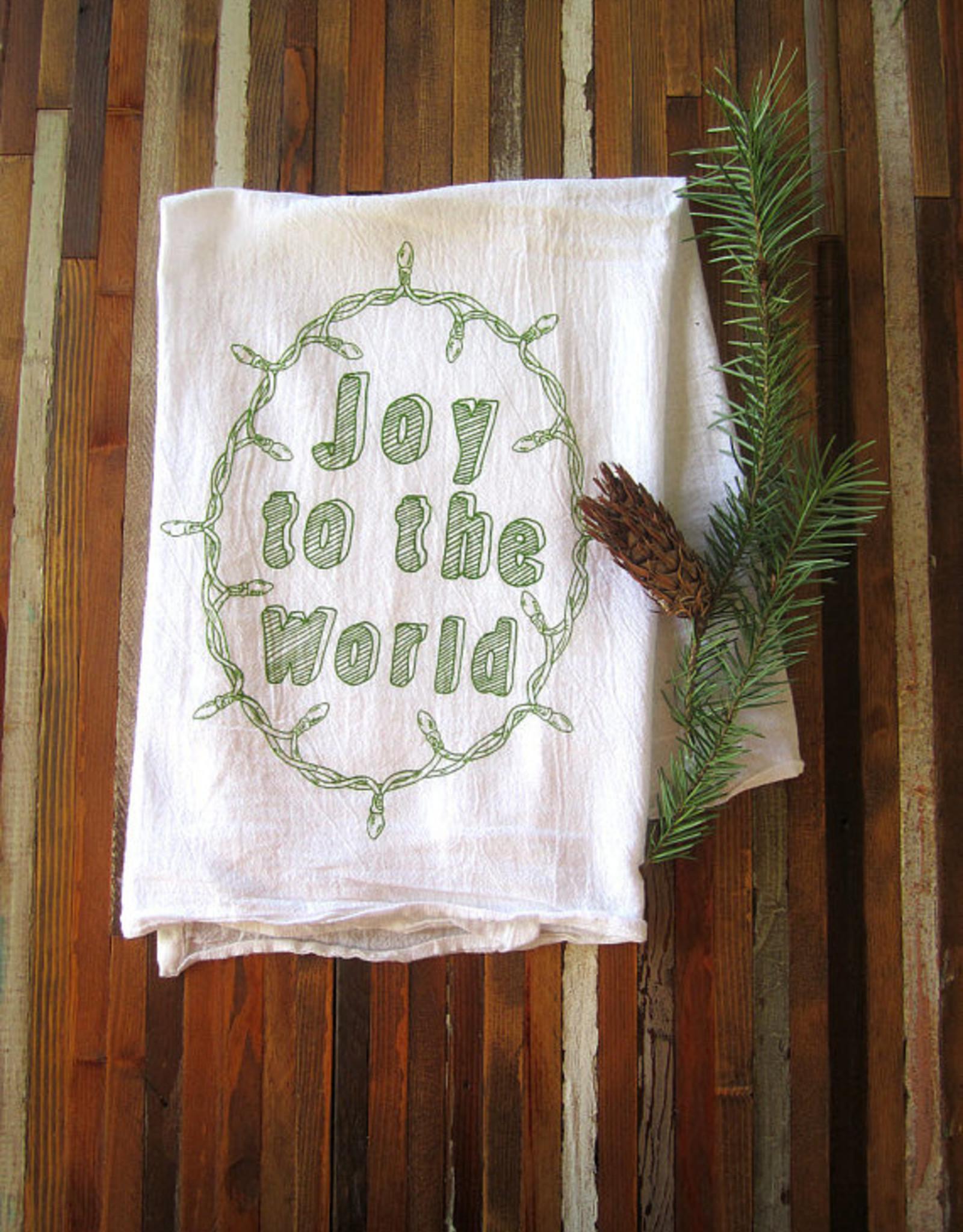 Oh Little Rabbit Joy To The World Tea Towel / Green