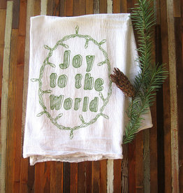 Oh Little Rabbit Joy To The World Tea Towel / Green