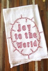 Oh Little Rabbit Joy To The World Tea Towel / Red
