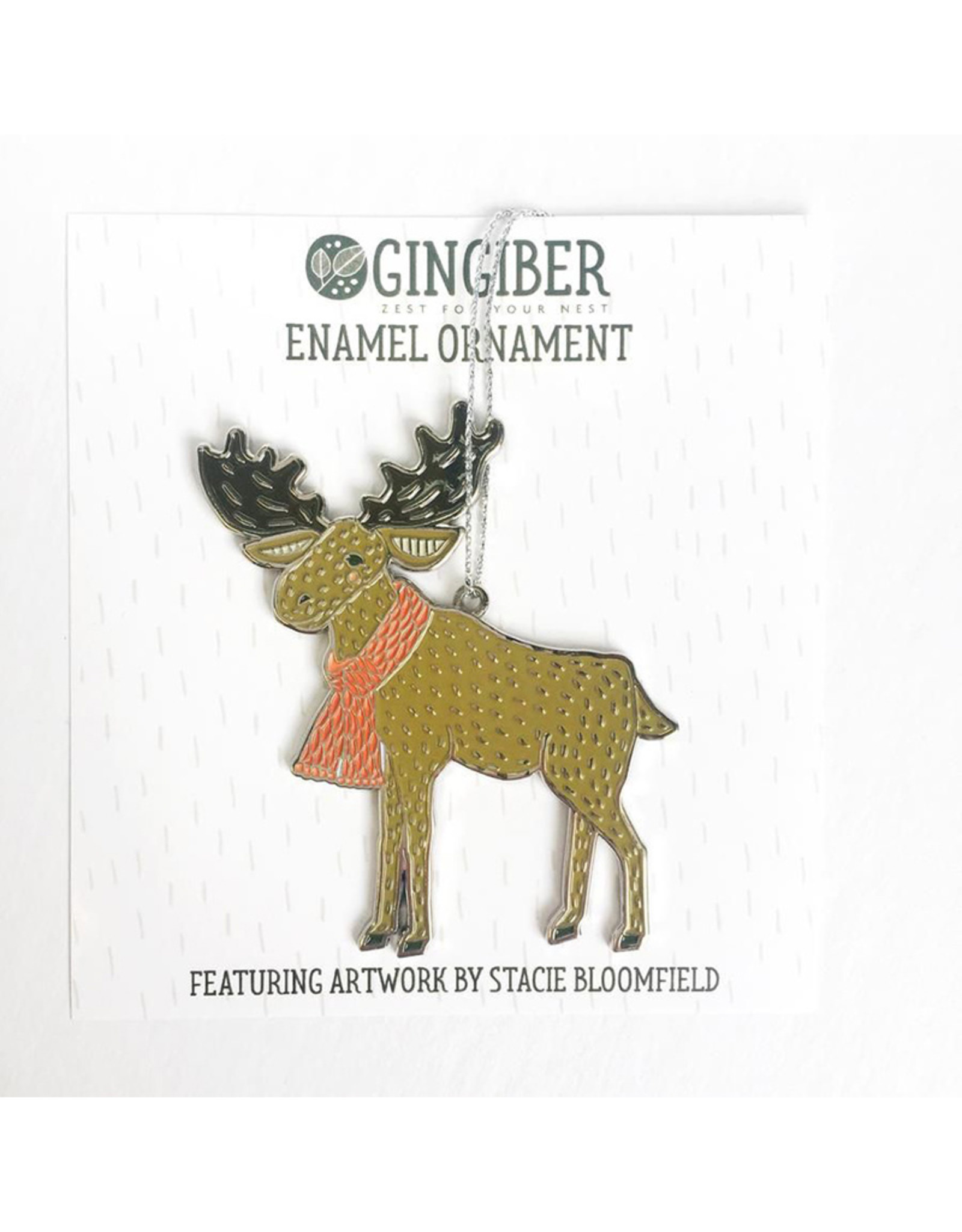 Gingiber Enamel Moose Ornament by Gingiber