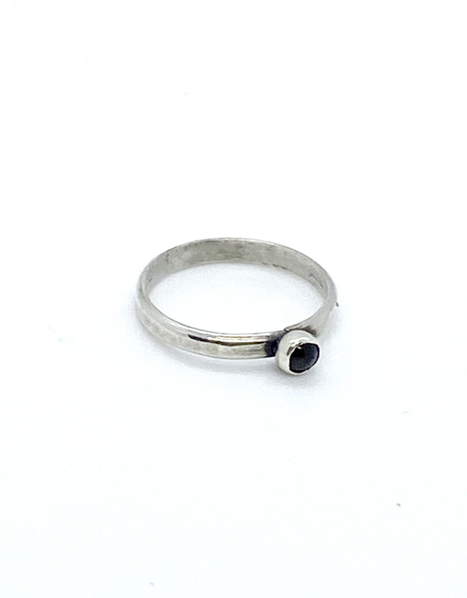 Takotsubo Metals Oxidized Sterling Silver + Garnet Ring