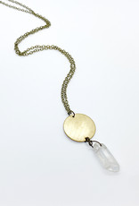 Luxe Debris Raw Brass Necklace + Crystal Pendant by Luxe Debris