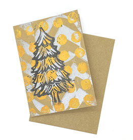 Paul Punzo Christmas Tree Block Print Card