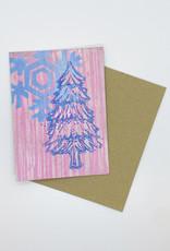 Paul Punzo Pink Tree and Snowflake Block Print Card