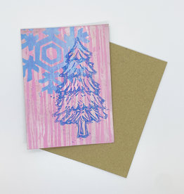 Paul Punzo Pink Tree and Snowflake Block Print Card