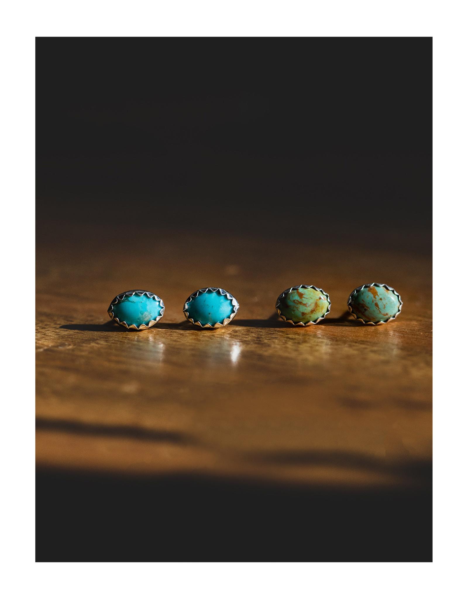 sara forrest design Kingman Mined Turquoise Studs by Sara Forrest Design