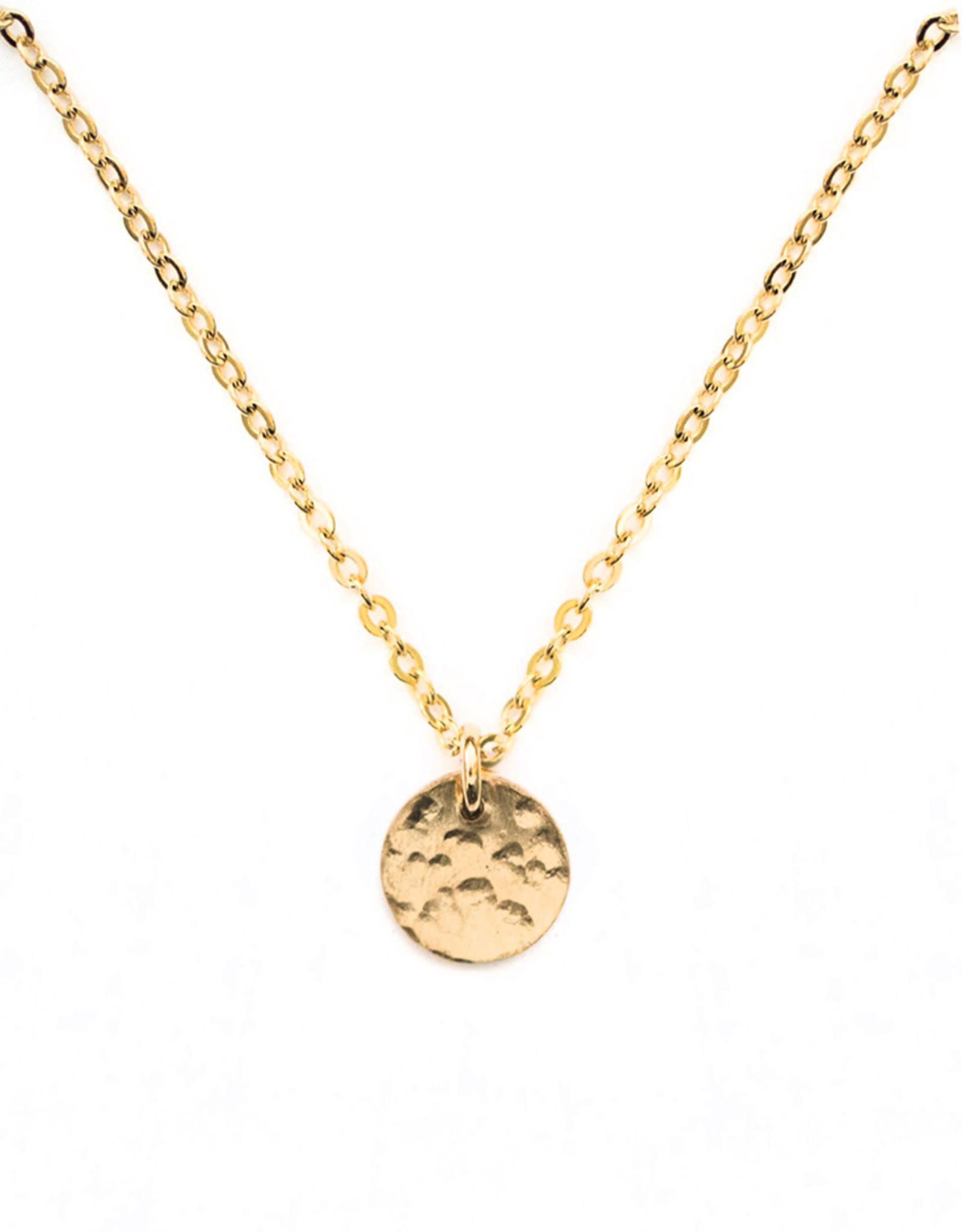 sara forrest design Textured Circle Charm Necklace