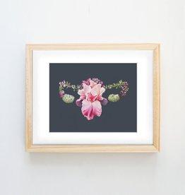Trisha Thompson Adams Floral Uterus Print // Dark Grey