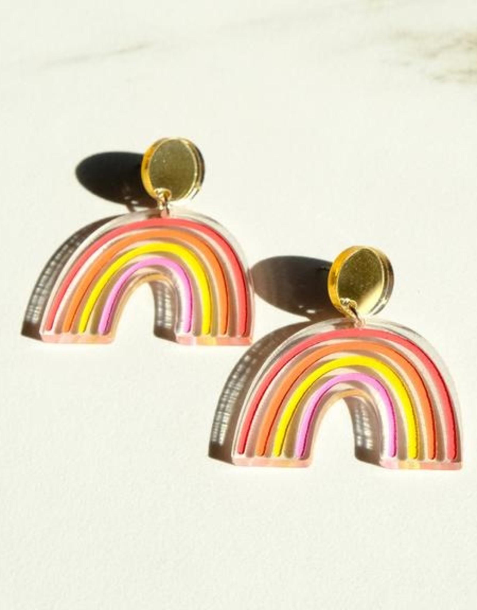 Sleepy Mountain Sunset Rainbow Earrings