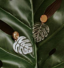 Sleepy Mountain Monstera Acrylic Earrings