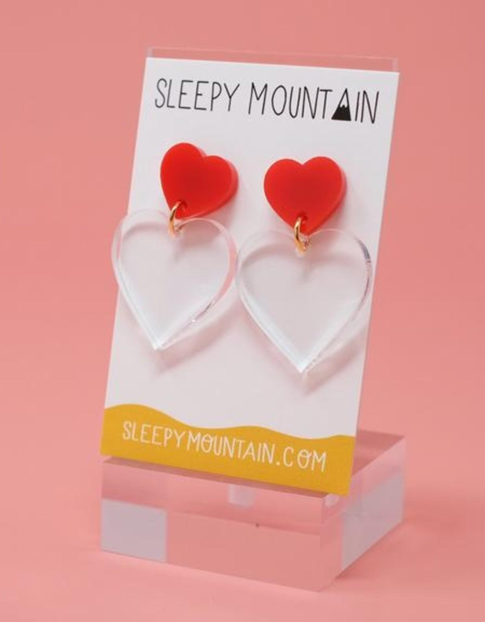 Sleepy Mountain Double Heart Acrylic Earrings