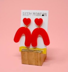 Sleepy Mountain Heart Arches Acrylic Earrings