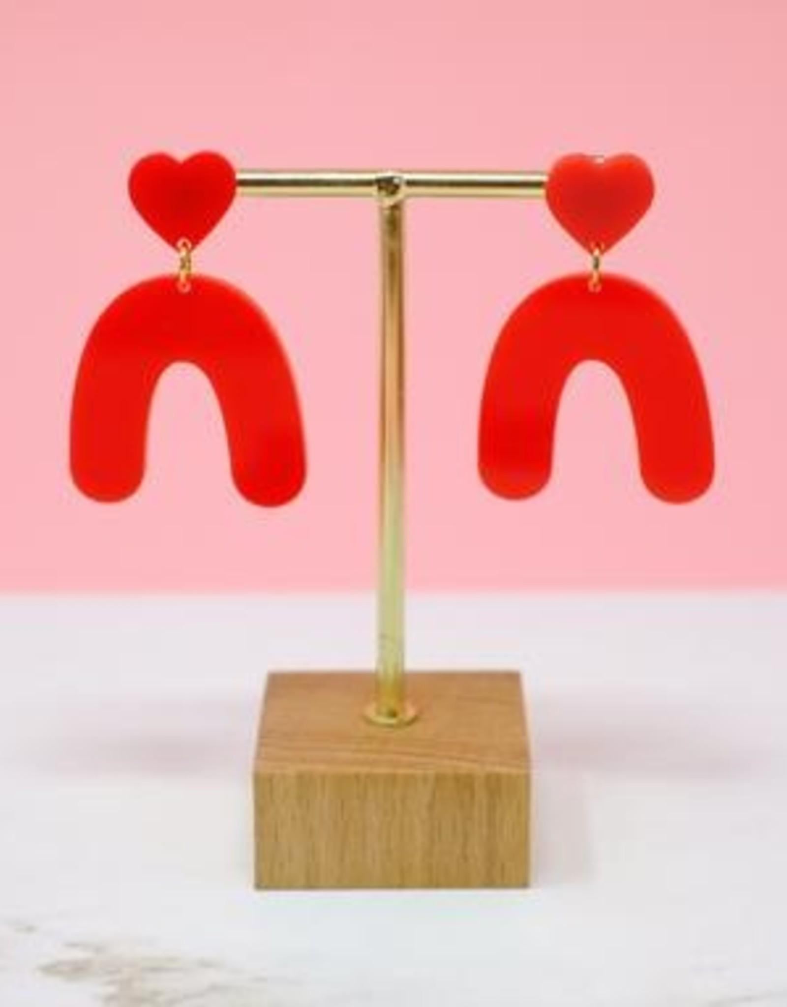 Sleepy Mountain Heart Arches Acrylic Earrings