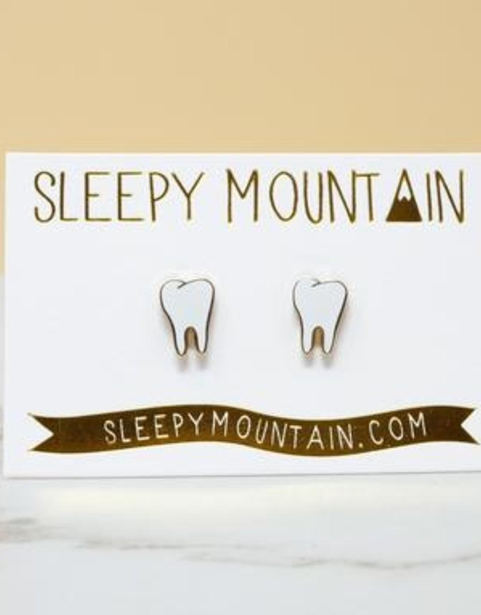 Sleepy Mountain Teeth Earrings // 22K Gold Plated