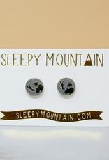 Sleepy Mountain Moon Studs // Gold Plated