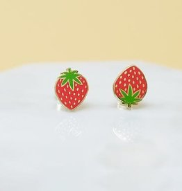 Sleepy Mountain Strawberry Earrings // Gold Plated