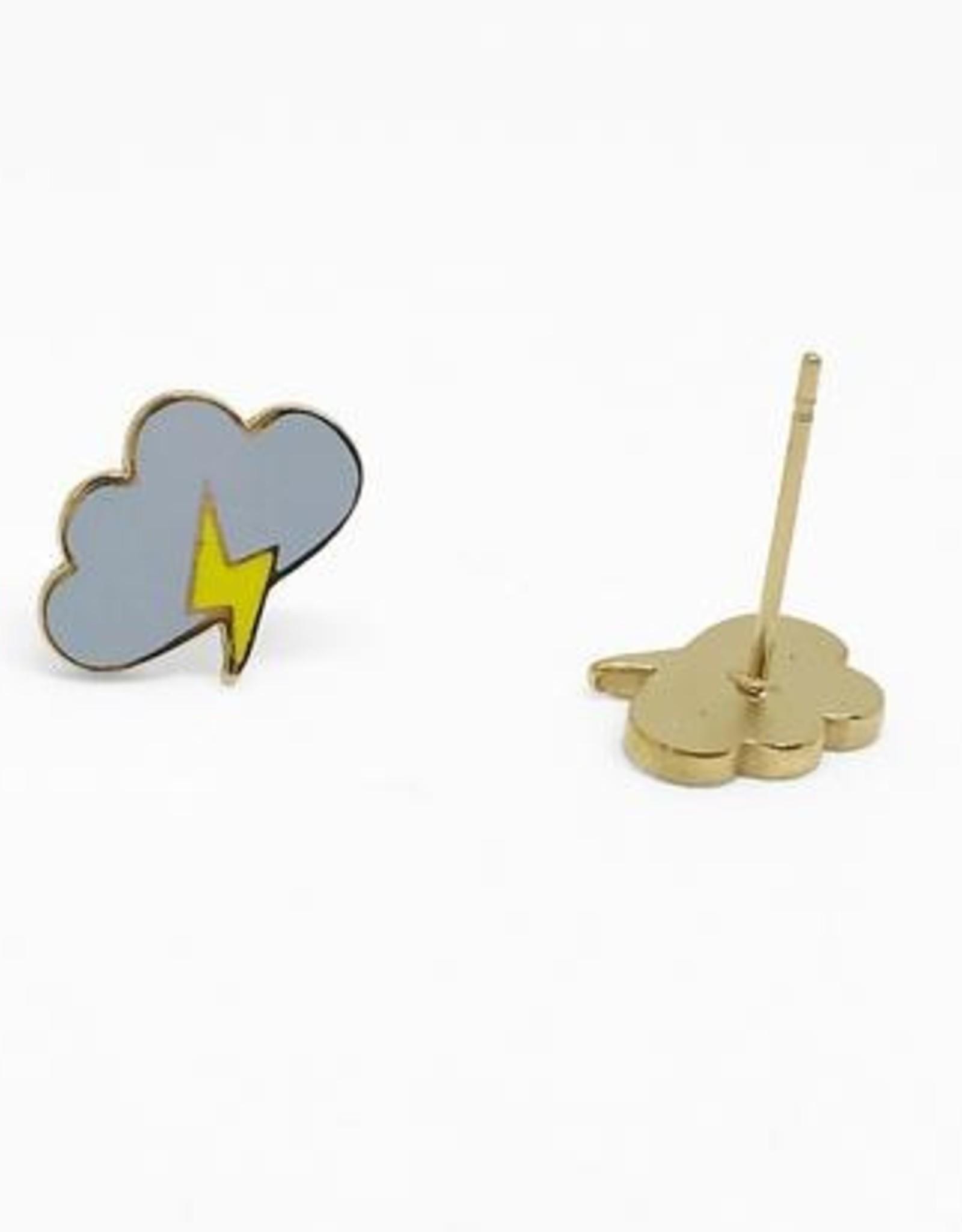 Sleepy Mountain Lightning Cloud Earrings // Gold Plated