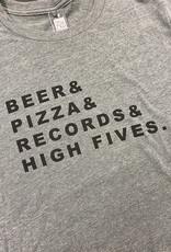 Yonder Studios Beer & Pizza & Records & High Fives Tee