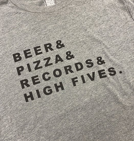 Yonder Studios Beer & Pizza & Records & High Fives Tee