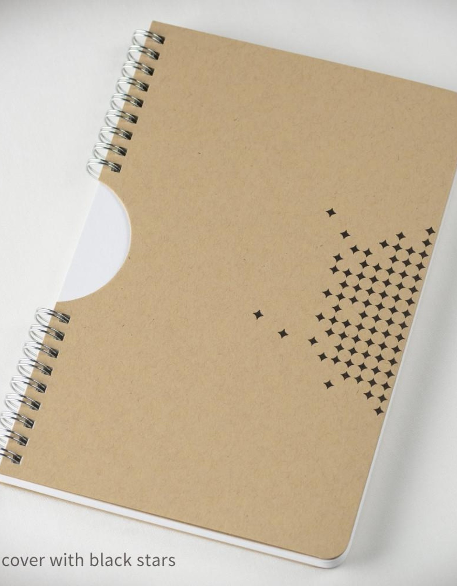 Inkello Star Spiral Notebook with Kraft Cover and Black Ink