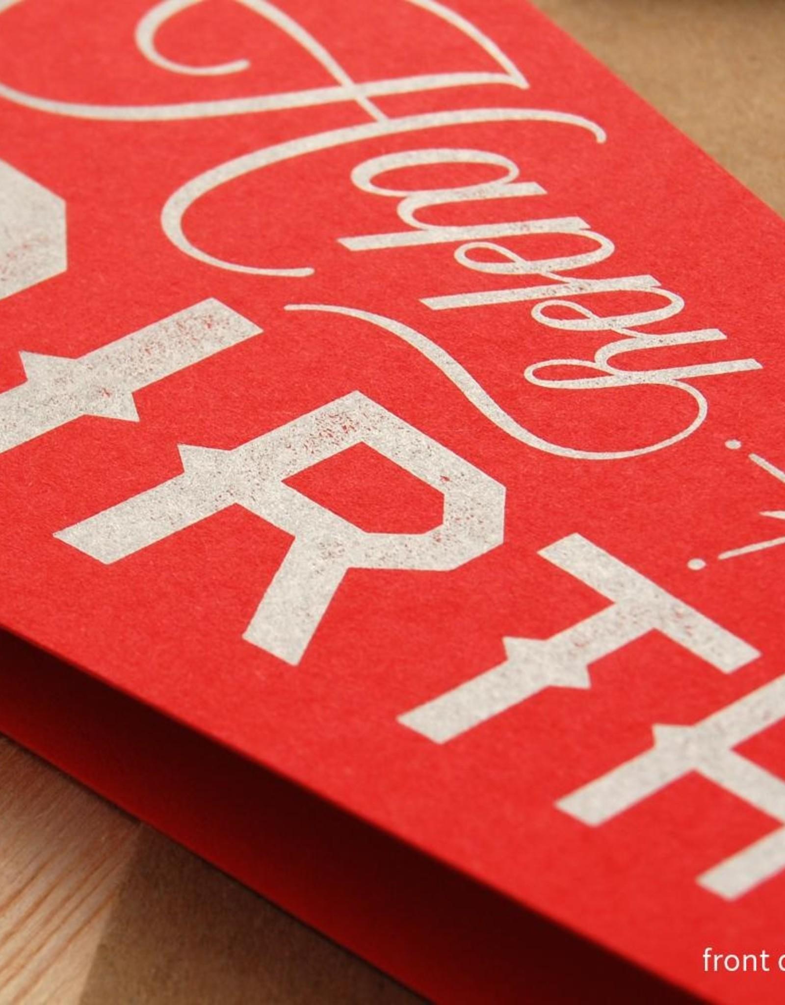 Inkello Red Happy Birthday Pennant Card