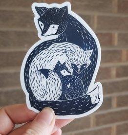 Janellabee Studio Fox Family Sticker Die Cut Sticker