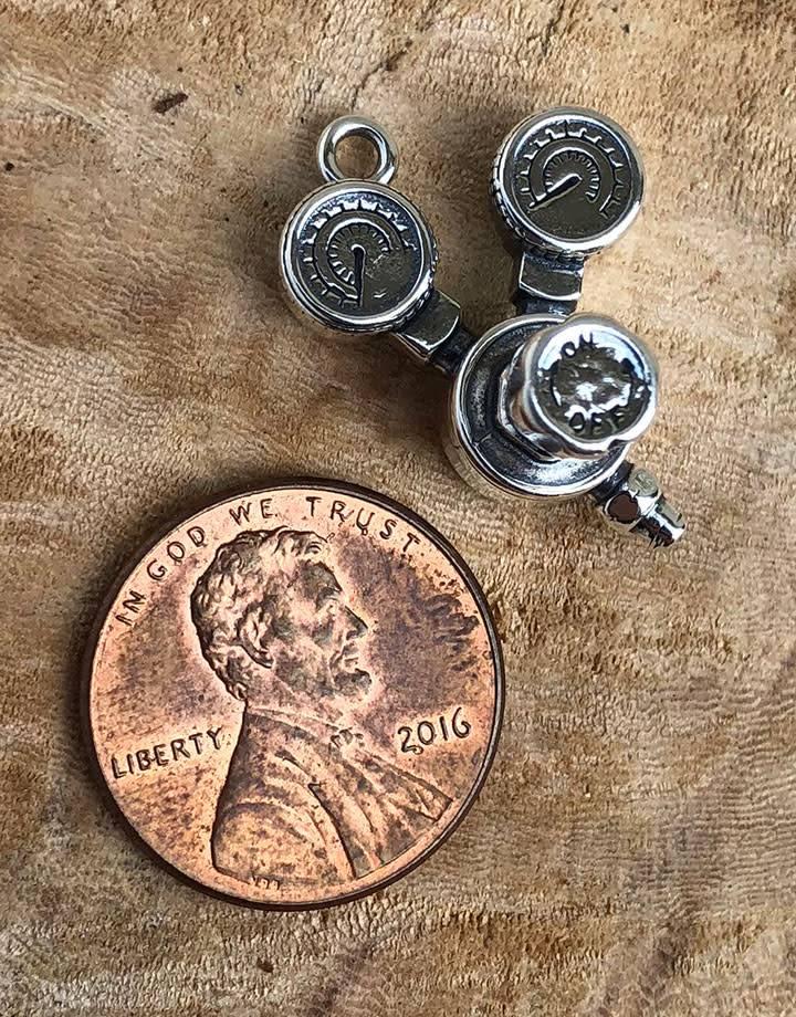 CM0010 = Torch Regulator Charm Sterling Silver