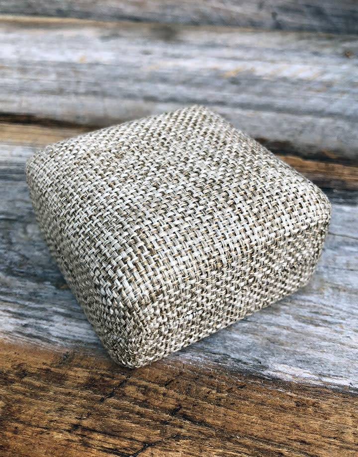 DBX3905 = Burlap Covered Flap Earring Box 2-5/8'' x 2-5/8'' x 1-3/8''H